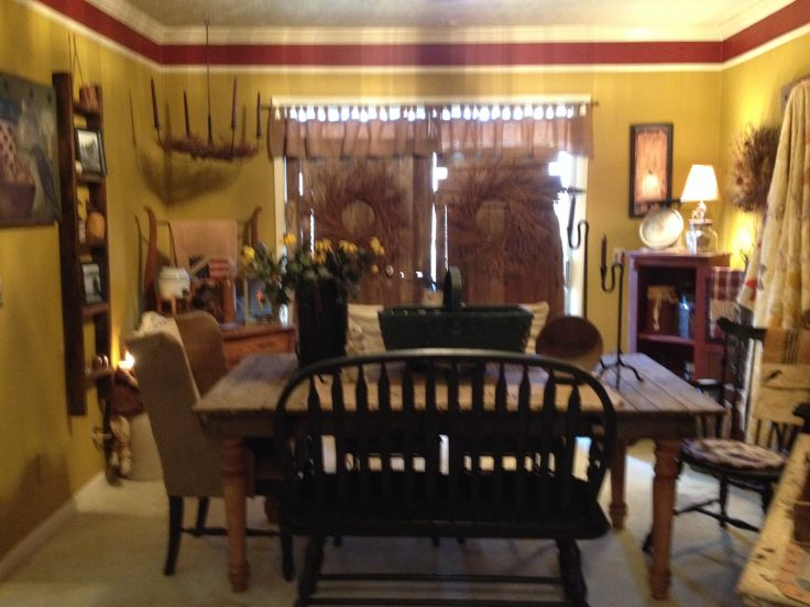 17 best images about primitive dining rooms on pinterest for Primitive country dining room ideas
