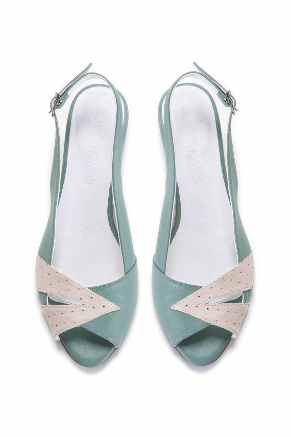 Womens Mint Green and Cream Peep Toe Flat Sandal by OliveThomasShoes
