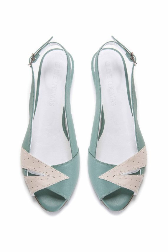 Womens Mint Green and Cream Peep Toe Flat by OliveThomasShoes, $175.00
