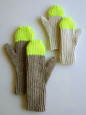 //: Crafts Patterns, Broom, Sewing Crafts, Knits Mittens, Paintings Pail, Gloves, Mittens Pattern, Laura Loops, Neon Yellow