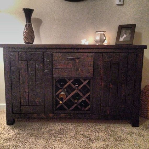 Rustic Handmade Distressed Wood Hutch With Wine Rack on Etsy, $450.00