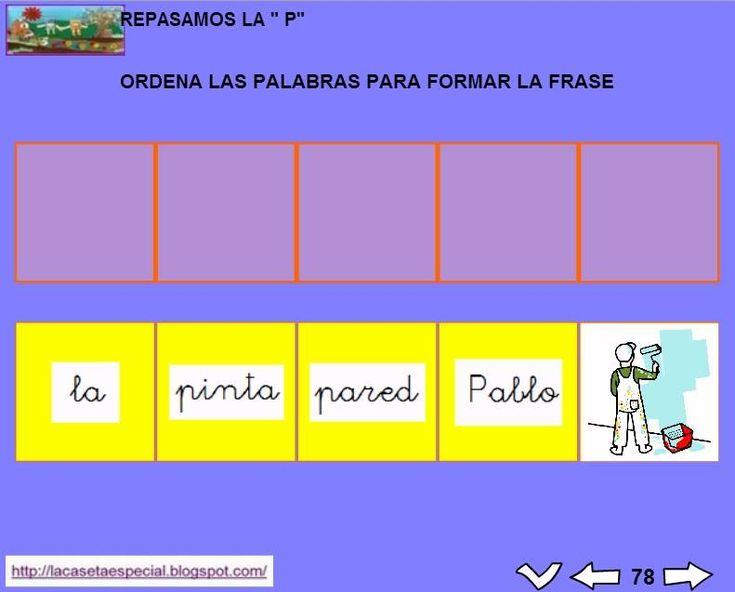 MATERIALES - Juegos LIM de lectoescritura: p  Se trata de juegos hechos con el editor de actividades EdiLim para trabajar la lectoescritura de manera divertida. Cada juego trabaja una letra y encontraremos actividades como: unir imagen con palabra, juego de memoria, ordenar sílabas y ordenar palabras para formar frases.  Descomprimid la carpeta JOC_EDILIM_P.zip y pulsad dos veces sobre el archivo repasamos_la_P.html.  http://arasaac.org/materiales.php?id_material=1199