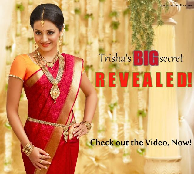 Indian Jewellery and Clothing: South Indian actress Trisha Krishnan in bridal jewellery ad for NAC jewellers