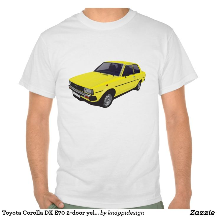 Toyota Corolla DX E70 2-door version yellow t-shirt  #toyota #corolla #corolladx #corollaE70 #tshirt #tshirt #shirt #automobile #cars #bilar #bil #auto #tröja #japan #japanese #nippon #80s #70s #toyotacorolla