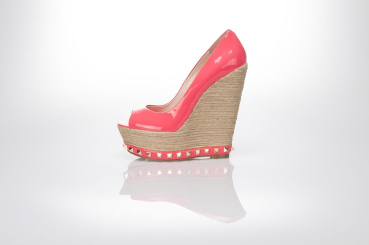 coral patent leather open toe wedge, natural rafia wedge, golden spiky studs  Gianni Renzi Couture Luxury leather shoes, sexy high heels