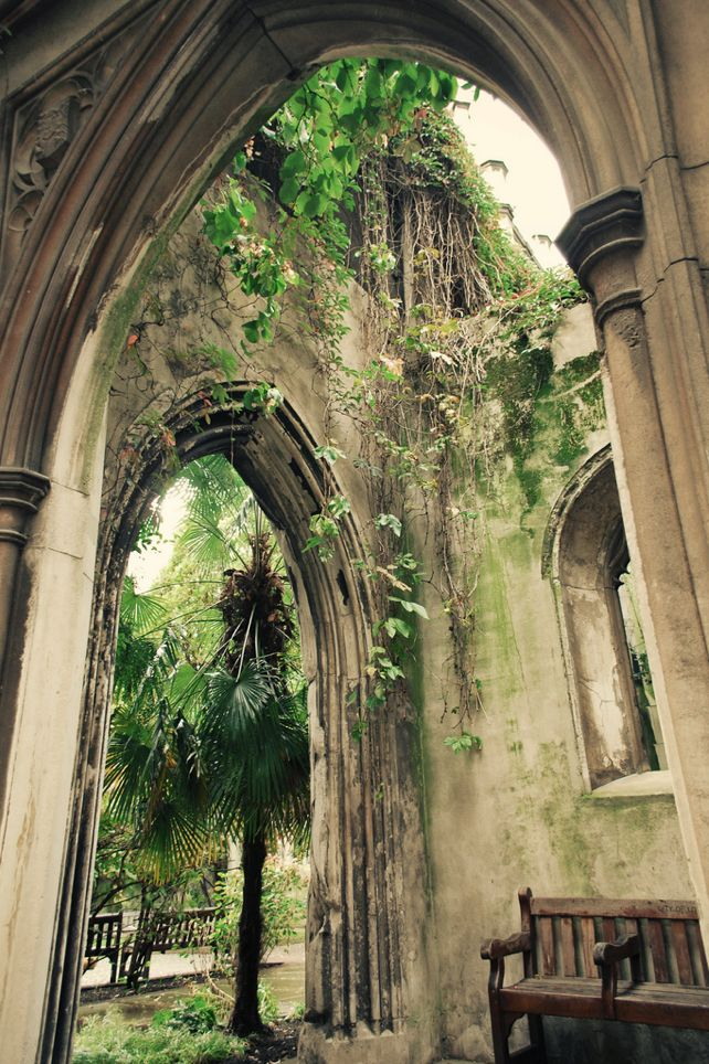 St. Dunstan in the East, London - the bombed ruins of a medieval church.