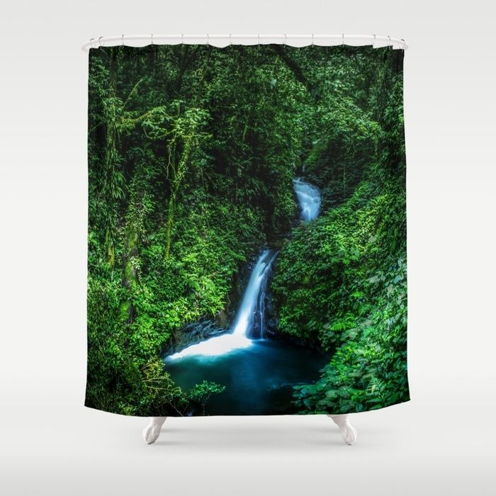 Jungle Waterfall. A small glade opens up with a beautiful waterfall deep in the jungle of the Cloud Forest Reserve of Monteverde, Costa Rica. #forest #rainforest #nature #green #landscape #waterfall #shower #curtains #showercurtains #bathroom #homedecor