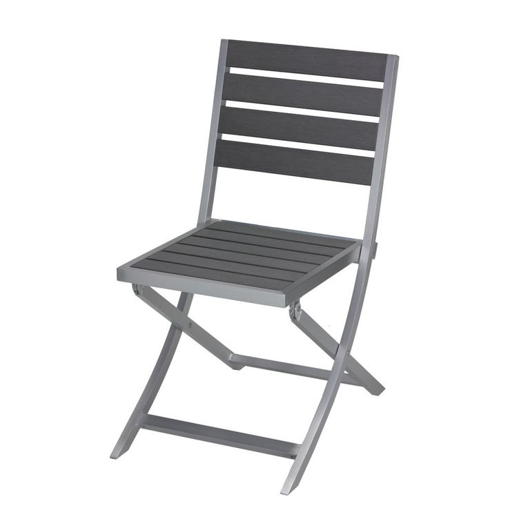Maxwell Aluminum Outdoor Folding Chair in Slate Grey Poly Wood, Brushed Nickel 1 chair. Dimensions: 21.5W x 25D x 34H in. Constructed of aluminum and polywood. Finished in brushed nickel and slate gray. Foldable for easy storage. HDPE does not absorb moisture and will not rot.