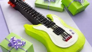 How to make a guitar cake - Electric guitar birthday cake, via YouTube.