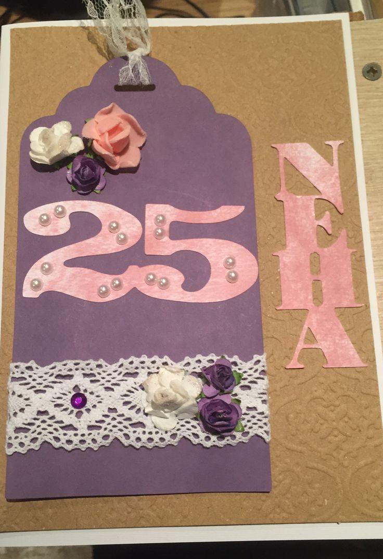 Handmade 25th Birthday Card