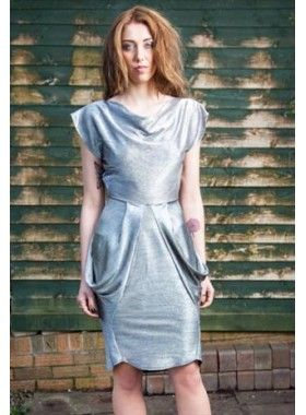 Estelle Pearce Metallic Drape Dress. Buy @ http://thehubmarketplace.com/Metallic-Drape-Dress-Silver #metallic #silver #summer #wedding #drape