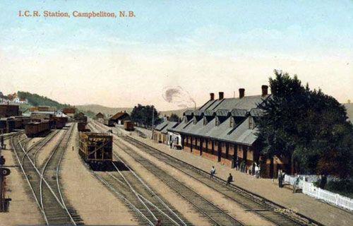 CAMPBELLTON, New Brunswick - Intercolonial Railway station -vintage pc