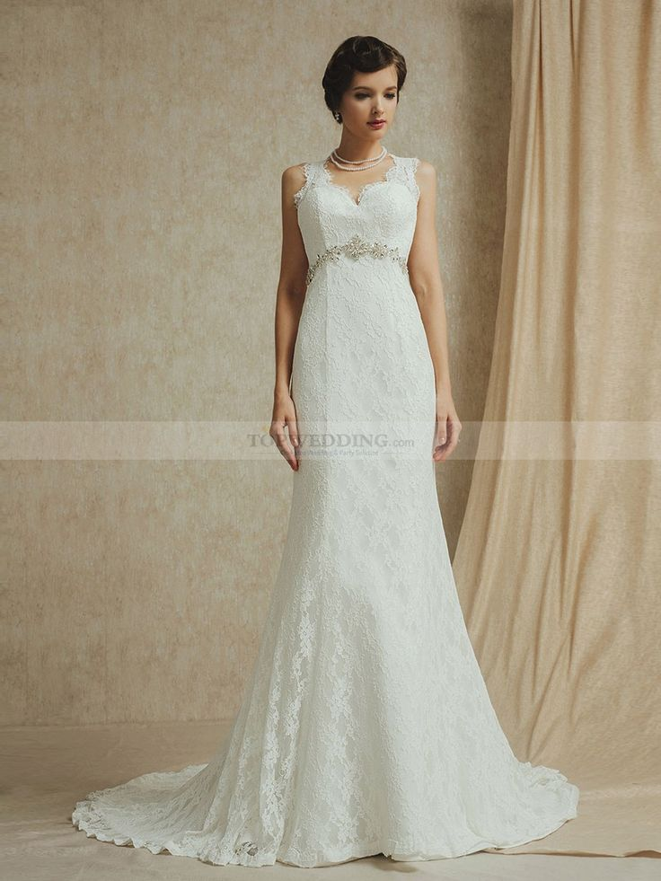 Sweetheart Lace Wedding Dress with Jewelled Waistband in Hollowed Back Design