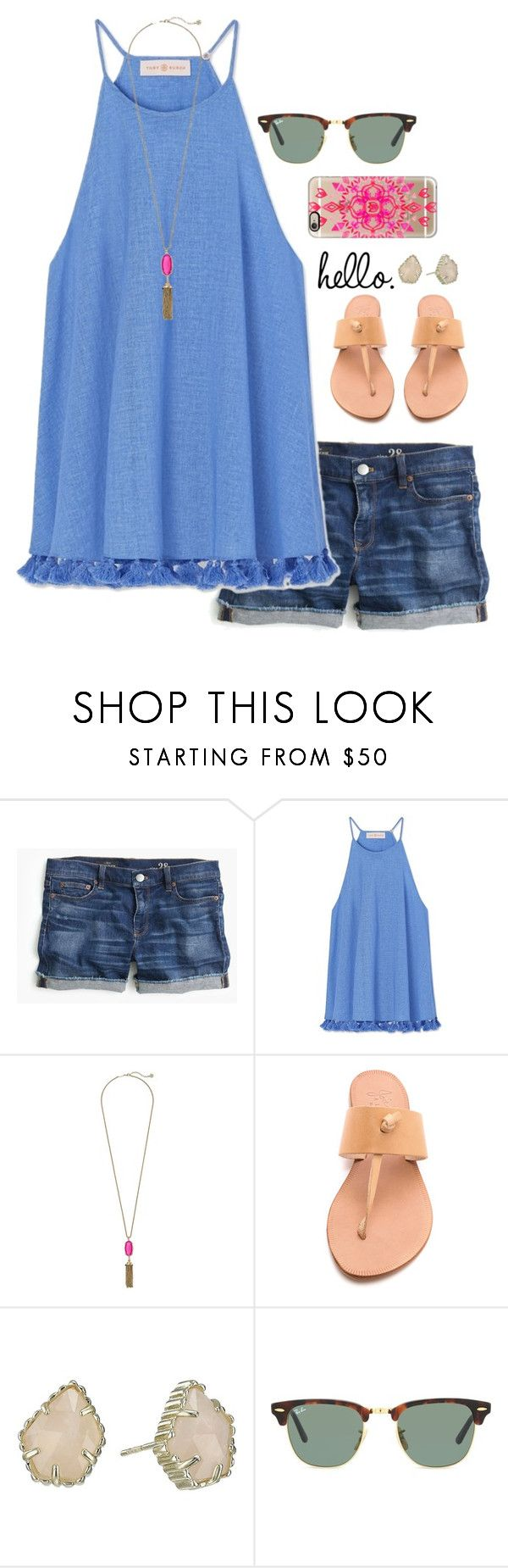 """""""we won our soccer game 6-0!!"""" by lillianjester ❤ liked on Polyvore featuring J.Crew, Tory Burch, Kendra Scott, Joie, Ray-Ban and Casetify"""