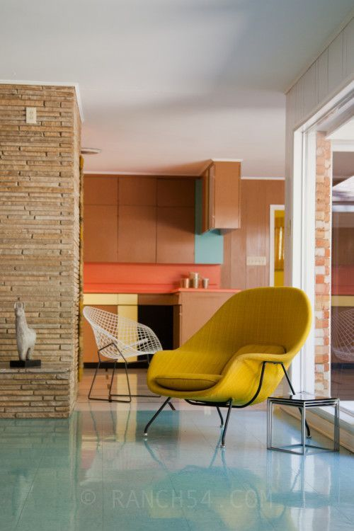 a sunshine yellow chair just adds happy to a room! Wilson House in Temple, Texas. Womb Chair. Bertoia Chair. Mid-Century Modern. Ranch54.com