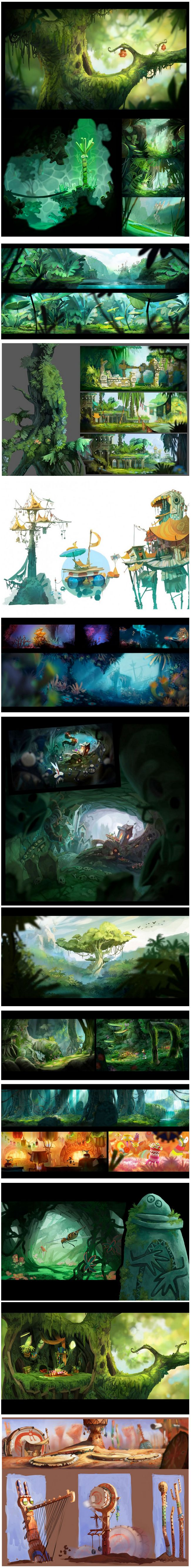 Rayman Origins by Floriane Marchix... Great background designs idea's for animation and motion graphics.