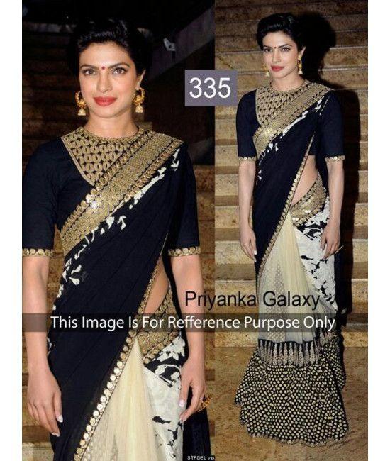 Bollywood Designer Priyanka Chopra New Arrival black & carem Saree