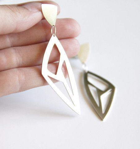 Sterling Silver Long Triangle Geometric Cut Out Earrings - Statement Earrings – tothemetal