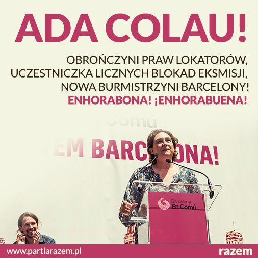Polityka tylko dla zawodowców namaszczonych przez media? Nie musi tak być! Po wczorajszych wyborach w Hiszpanii nową burmistrzynią Barcelony zostanie działaczka społeczna, liderka ruchu przeciwko eksmisjom, Ada Colau Ballano. Gratulacje! Enhorabona! ¡Enhorabuena! Udowodnijmy, że w Polsce to też możliwe! http://www.partiarazem.pl [foto: Marc Lozano]