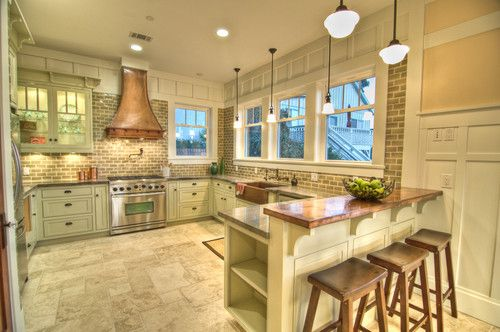 Copper and stainless steel can go together like peanut butter and jelly. As you can see, you can pair stainless steel appliances with a copper range hood and countertops.Ideas, Kitchens Design, Traditional Kitchens, Subway Tile, Breakfast Bar, Range Hoods, Craftsman Kitchens, Bricks, Stainless Steel