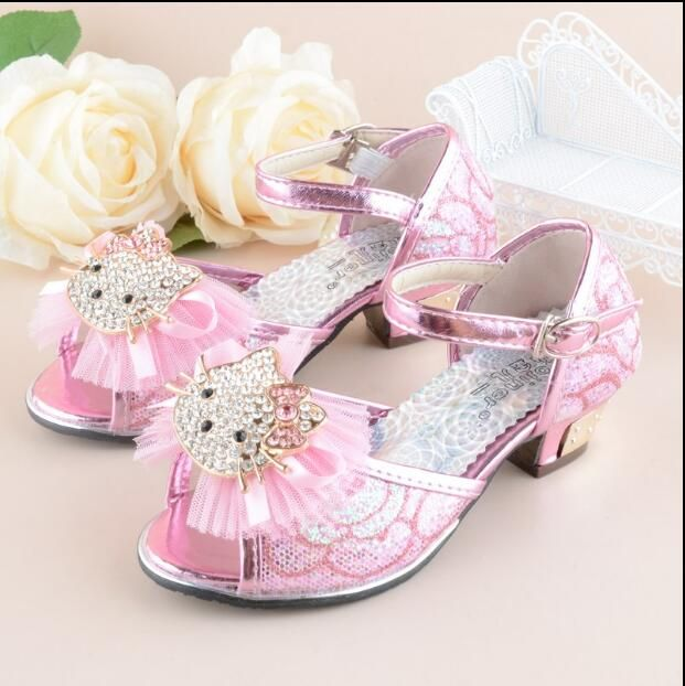 Girls Heel Shoes Hello kitty Sandals 2016 New Children Shoes High Heels Princess Bow Sweet Sandals Beaded Shoes For Girls