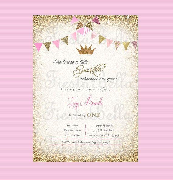 Pink and gold princess birthday invitation. Princess birthday. Gold crown, tiara invitation. Classy. Sparkle birthday. First birthday invitation. Girl. https://www.etsy.com/listing/230025270/princess-crown-birthday-invitation-pink