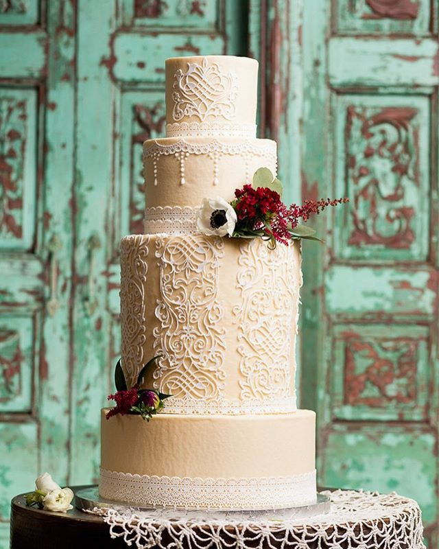 wedding cakes northern new jersey%0A ccscakery   Ivory White lace wedding cake