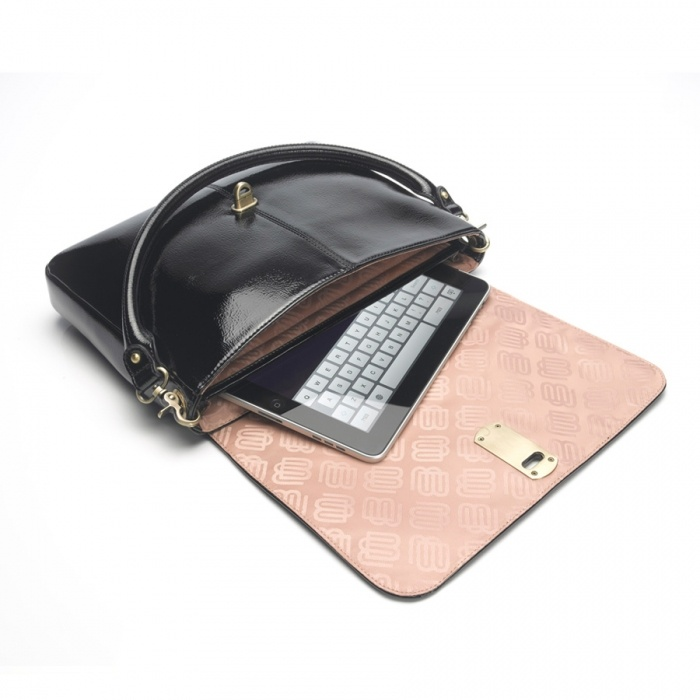 Tahlia Black Patent Clutch iPad Bag