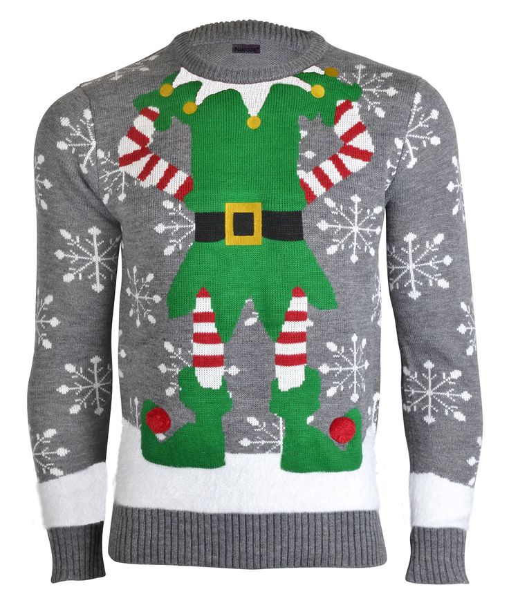 Brave Soul Mens Novelty 3D Fluffy Nose Knitted Christmas Sweater Jumpers (Medium(UK Size), Mid-Grey)