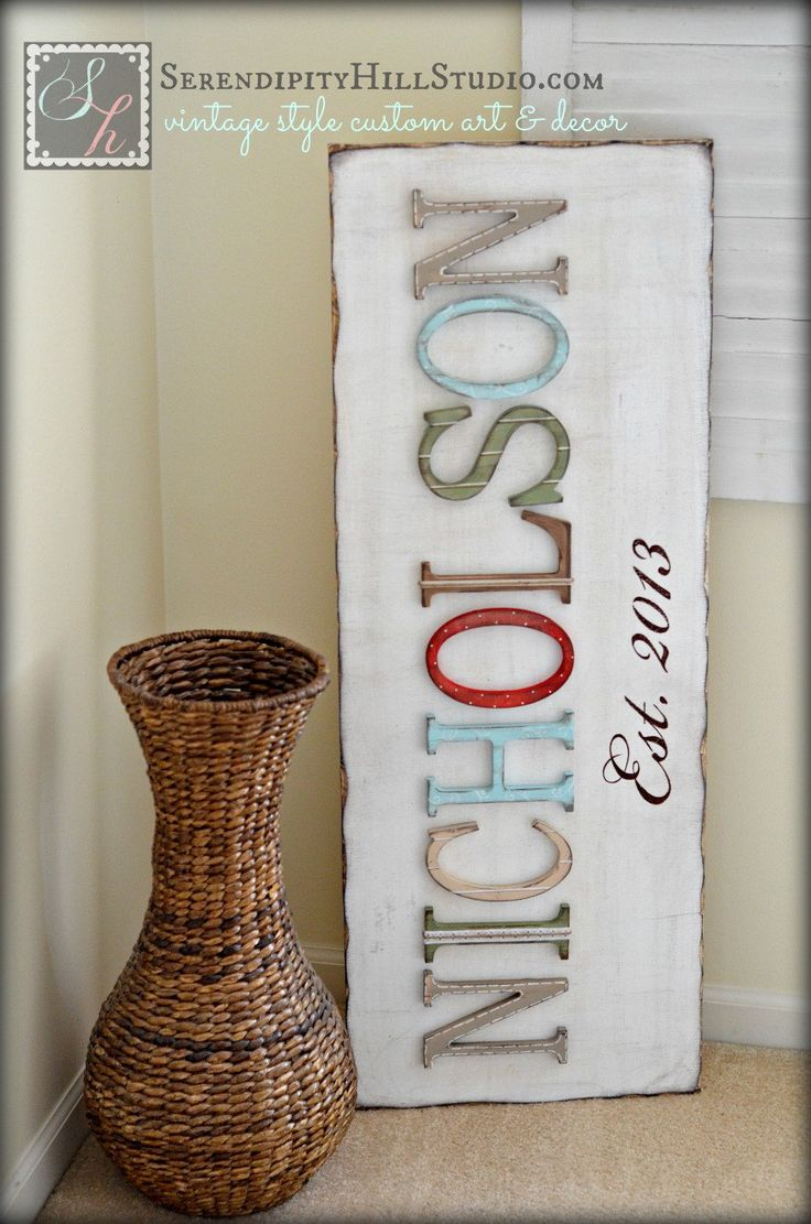 Family name sign typography custom made to by SerendipityHillShop