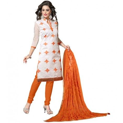 Off White Color #Chanderi Fabric straight cut #Suit with Orange color #Cotton fabric Bottom & Orange color Najneen fabric Dupatta. This Beautiful suit has Off White & Orange color stitch abstract embroidery work on all over the top and Brown color zari border work at lower part.