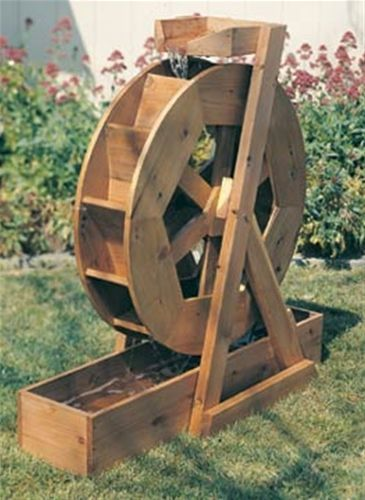 Water Wheel Woodworking Plan Here's the ultimate addition to your garden!! How much more relaxing could it be than to sit in your garden with all it's wonderful smells and listen to the sound of trick