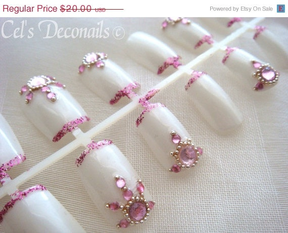 ON SALE Oriental pink wedding nails bridal nails by celdeconail, $16.00