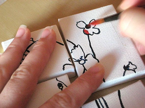 Art on tiny canvases and then can put them onto a backdrop for unique art idea.