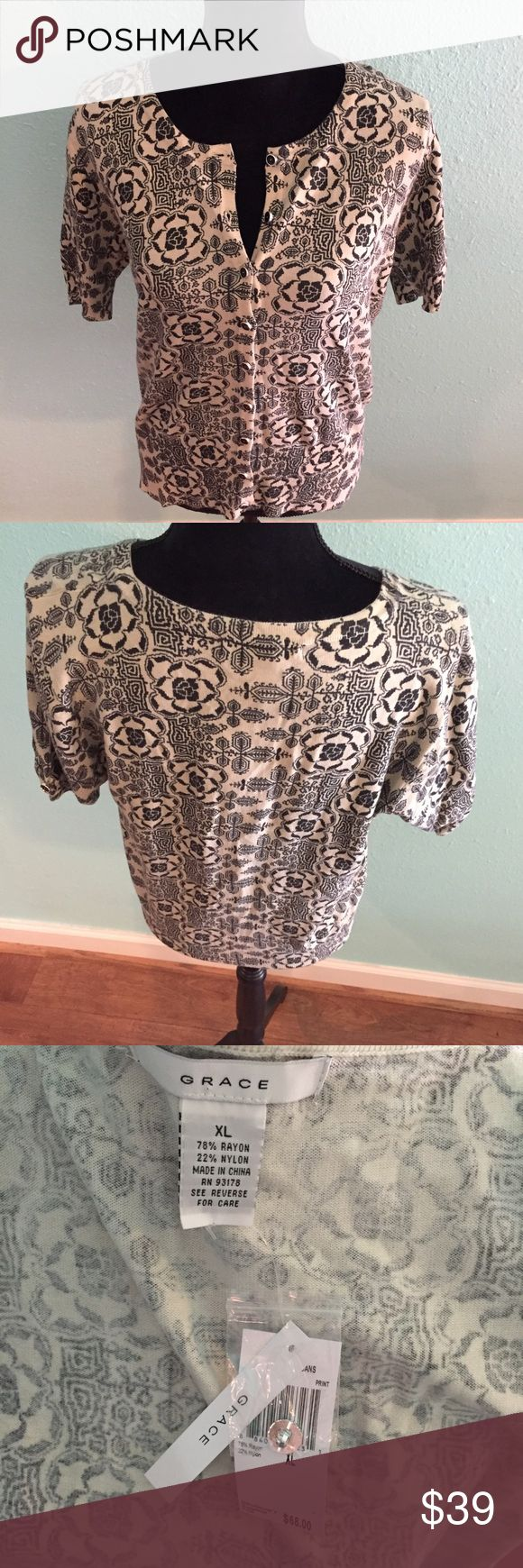NWT Grace Short Sleeve Tribal Print Cardigan Super cute short sleeved cardi for any season! Cream colored with fun tribal print. NWT.  Size XL Grace Sweaters Cardigans