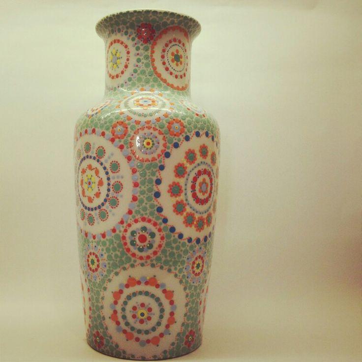 Xl vase hand painted by Nienke - Stipstijl.nl