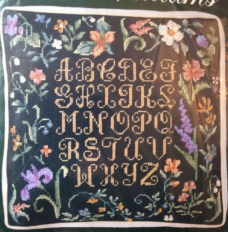 Millefleurs Pillow Needlepoint Kit Elsa Williams Alphabet