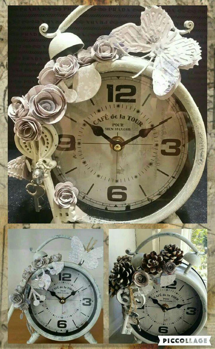 Vintage clock  #shabby #shabbychicdecor #imperia #imieicorsi #lemieopere #imieicorsiadimperia #decoupage #arte #mercatini