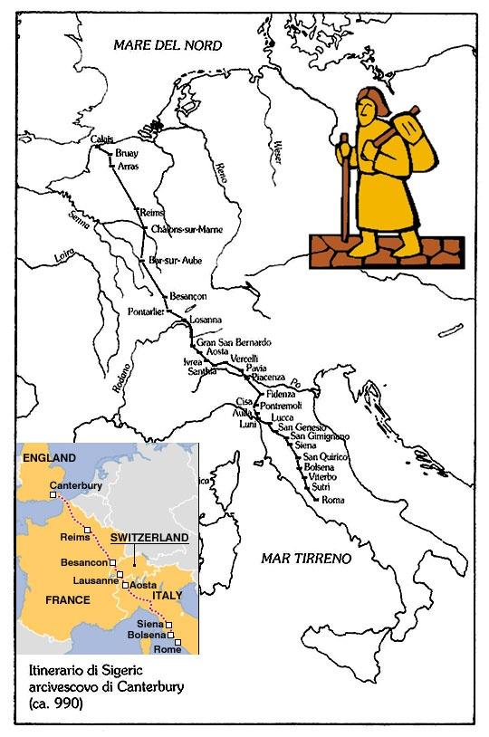 Via Francigena, Pilgrims' Road to Rome Map