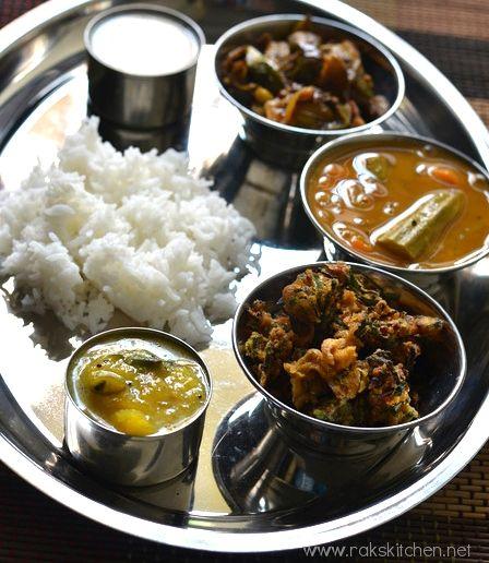 Simple south Indian meal with Drumstic sambar, Brinjal curry,crispy ladies finger fries, mango pachadi, gooseberry thayir pachadi