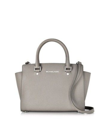 PEARL GRAY SAFFIANO LEATHER SELMA MEDIUM T/ZIP SATCHEL