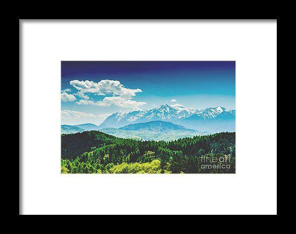 Carpathian Mountains Landscape With Blue Sky In Summer Framed Print