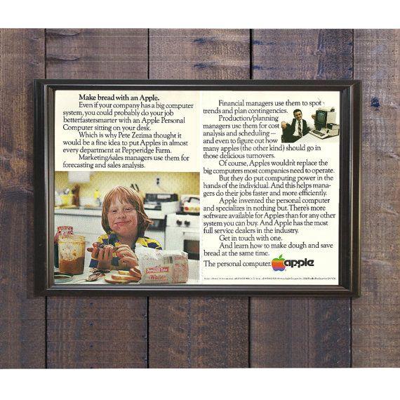 Unique Computer Art  Apple Personal Computers  Pepperidge Farms Ad  Apple Computer Sales  1980s Apple Magazine Ad  Sandwich Bread Ad by RetroPapers