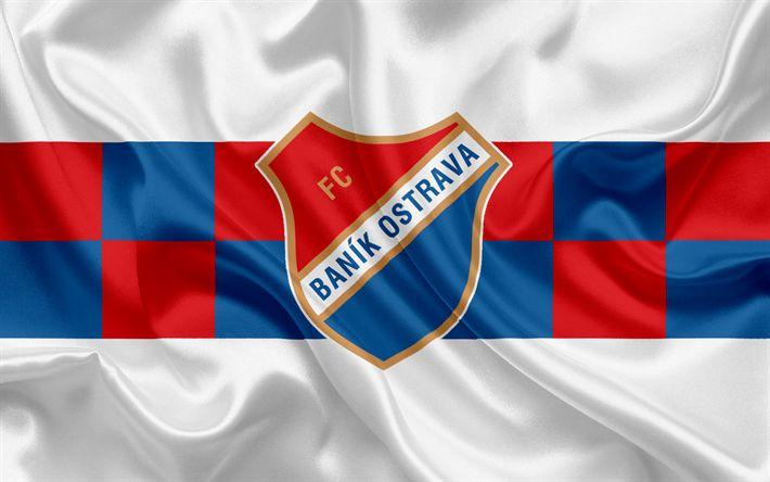 Descargar fondos de pantalla FC Banik Ostrava, club de fútbol, Ostrava, República checa, emblema, logotipo, rojo de seda azul de la bandera checa campeonato de fútbol