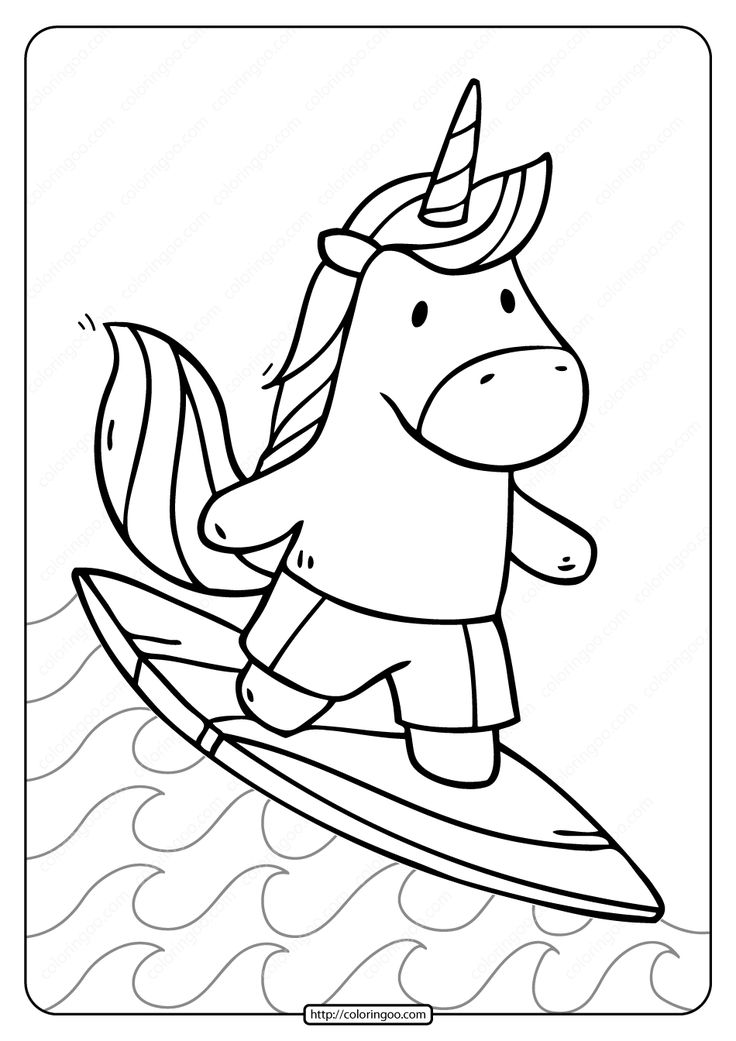 Free Printable Unicorn Surfer Pdf Coloring Page in 2021