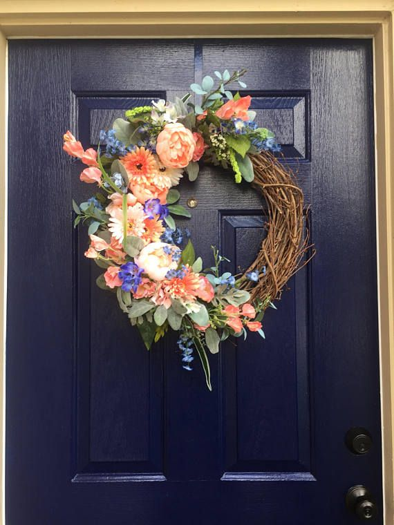 Too pretty to pass up! Assorted coral flowers accented with blues and greens. Such a pretty color combination. Created on an 18 inch grapevine wreath. Perfect for a french country home. If you want a monogram (or Address number) please click on my Monogram listing and choose the Letter and