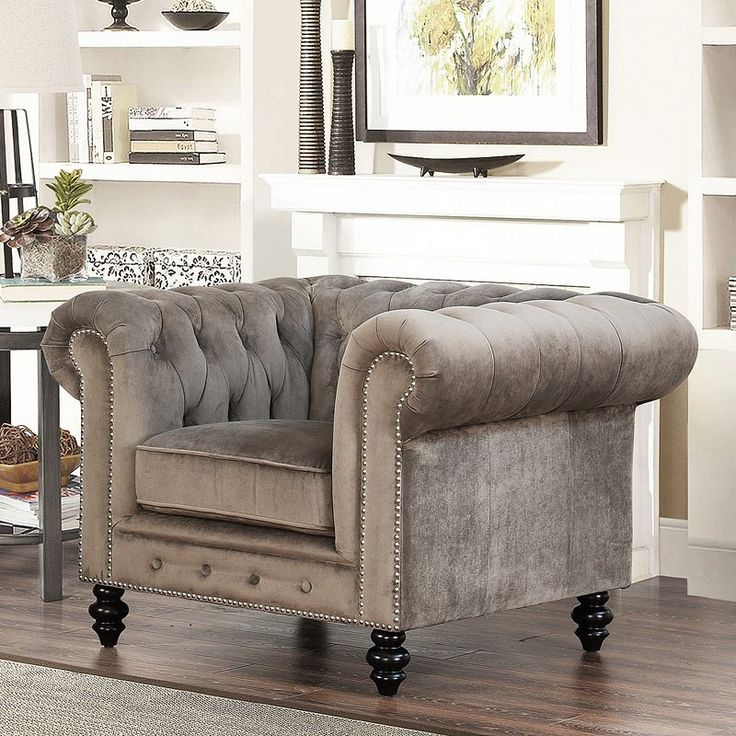 Abbyson Living Grand Chesterfield Gray Velvet Armchair