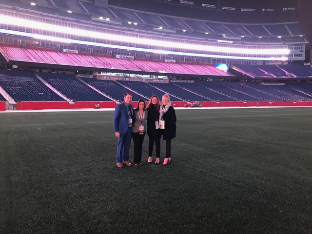 Field access of Gillette Stadium Post Superbowl Event with The New England Team.