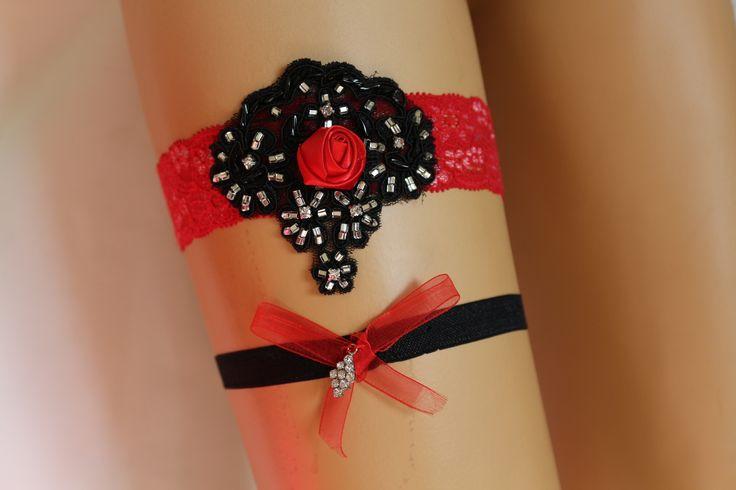 Cadeau, ligue de mariage, rouge et noir Jarretière nuptiale dentelle, : Autres accessoires par passionis