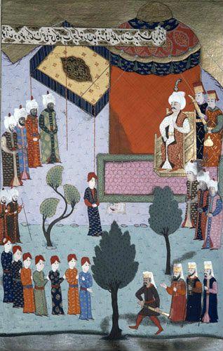 Selim I receiving severed head of Kansu Gavri, , Mamluk Sultan of Egypt, 16th century miniature from ms H.1523 p 211A, Book of Accomplishments, Topkapi Istanbul